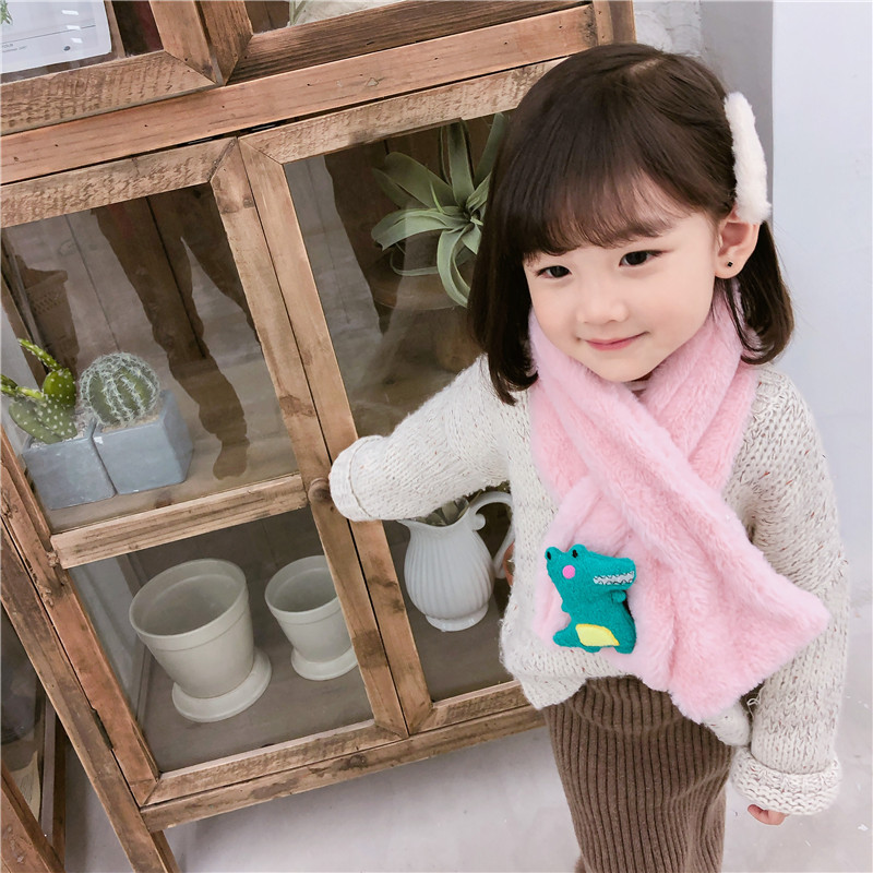 Zh Children Plush Scarf Winter Scarf Korean-style Sweet Cute Girls Baby Rabbit Faux Rabbit Fur Kids Autumn And Winter