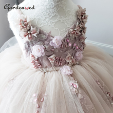 Dresses Ball-Gown Communion-Dress Puffy Tulle Flower-Girl Straps Beading Lace Sashes