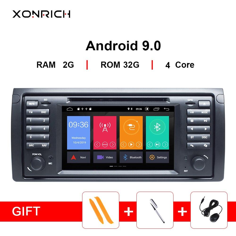 Lecteur multimédia DVD de voiture IPS 1 Din Android 9.0 pour BMW X5 E53 E39 5 séries stéréo audio GPS navigation écran tête unité DSP 4G