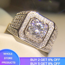 Yanhui Grote Hip Hop Strass Mannen Iced Out Bling Vierkante Ring 925 Zilveren Pave Instelling Cz Wedding Engagement Rings Top kwaliteit(China)