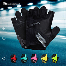 Santic Men Women Cycling Short Gloves Unisex Summer Half Finger Cool Feeling Anti-pilling Anti-static Sun-protective WM7C09065