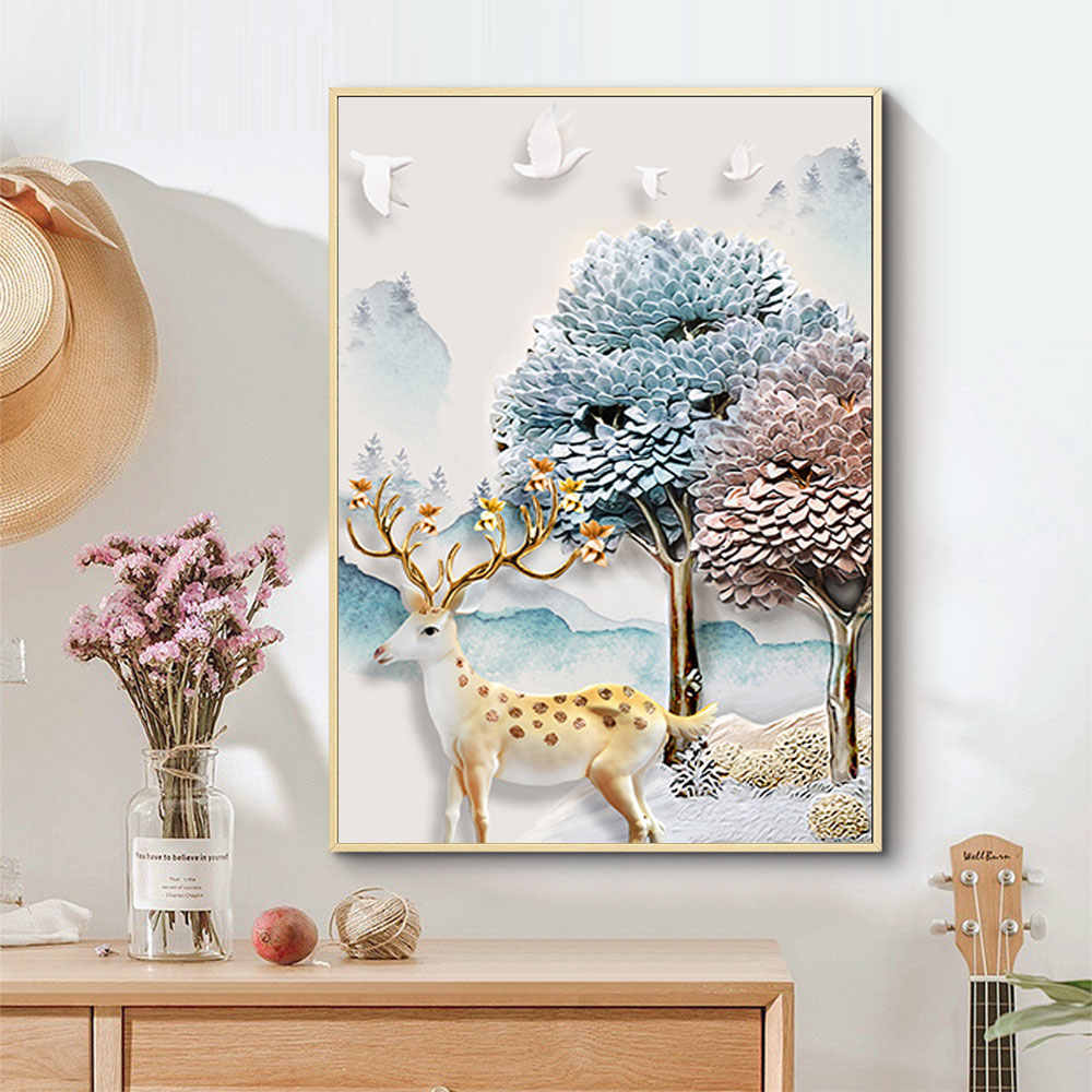 الشمال الحيوان الغزلان الأشجار صور حائط لوح رسم ملصق فني ديكور المنزل الملصقات والمطبوعات ديكور المنزل