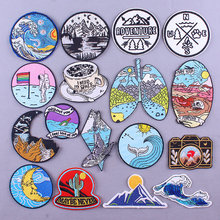 Outdoor Patch Mountain Travel Patches On Clothes Iron On Patches For Clothing Camping Embroidered Patches For Clothes Badge DIY