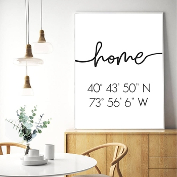 Wall Art Modular Home Coordinates Sign Picture Canvas Latitude Longitude Print Poster Minimalist Home Decor Painting For Bedroom image