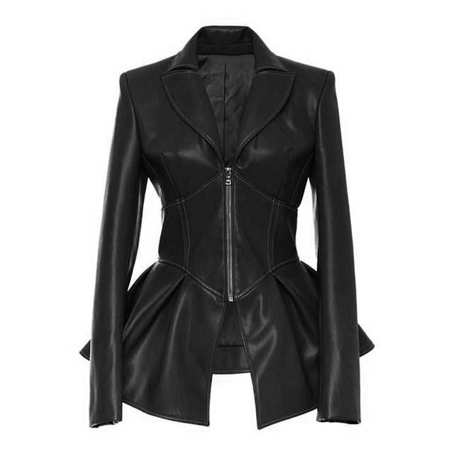 TWOTWINSTYLE Biker Style Patchwork Irregular Jacket Women Lapel Collar Long Sleeve High Wait Tunic Female Coat 2020 Fashion Tide