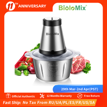BioloMix 2 Speeds 500W Stainless steel 2L Capacity Electric Chopper Meat Grinder Mincer Food Processor Slicer