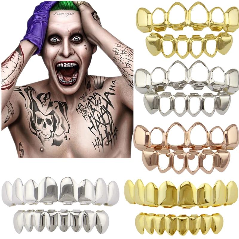 Hip Hop Grillz Flat 8 Top And 8 Bottom Set Grills Bling Teeth Caps Halloween Joker Cosplay Costumes DIY Prop