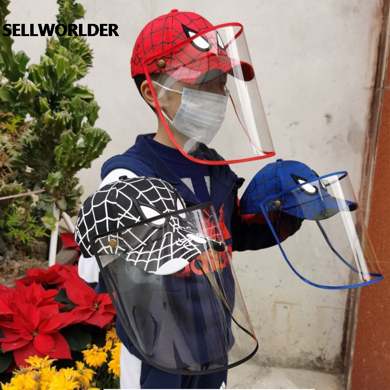 Anti-fog Protective Spiderman Mickey Minne Print 2020 Summer Outdoor Hat Foldable And Removable Children's Baseball Cap 50-54cm