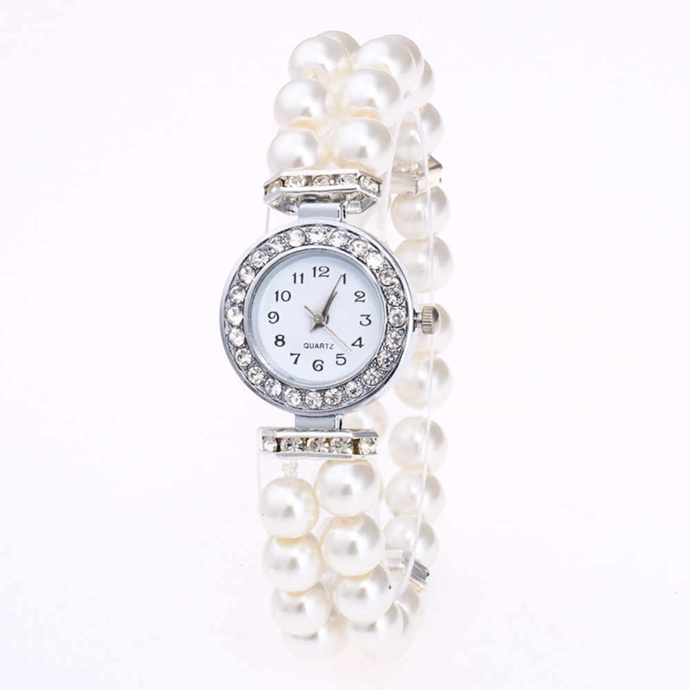 Kristal Fashion Wanita Mutiara String Tali Jam Tangan Gelang Kuarsa Model Perempuan Jam Wanita Damenuhr Reloj Mujer