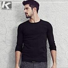KUEGOU 2019 Herbst Baumwolle Plain White T Hemd Männer T shirt Marke T shirt Langarm T Shirt Mode Kleidung Top Plus größe 801