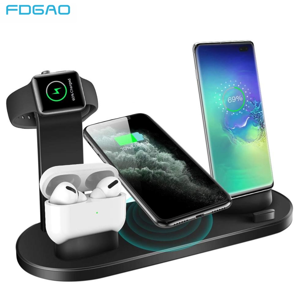 10W Qi Wireless Charger Dock Station 4 in 1 Fast Charger Stand For iPhone 8 X XS XR MAX 11 Pro For Apple Watch 5 4 3 Airpods Pro|Wireless Chargers| |  - title=