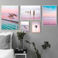 Pink purple beach Ocean Canvas Poster Print Sunrise Coconut Landscape Art Painting Seascape Picture Wall Decoration selflessly wall impressionism monet wild poppy field sunrise landscape canvas painting art print poster picture painting