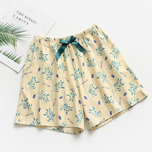 Pajamas summer cotton loose home shorts female elastic waist casual women\s printed pajama pants