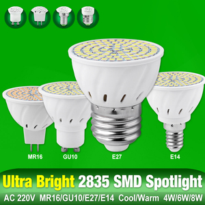GU10 E27 MR16 E14 AC 220V 48 60 80leds Lamp LED Bulb Base High Bright 2835 4W/6W/8W Lampada Spot light bombillas led MR16