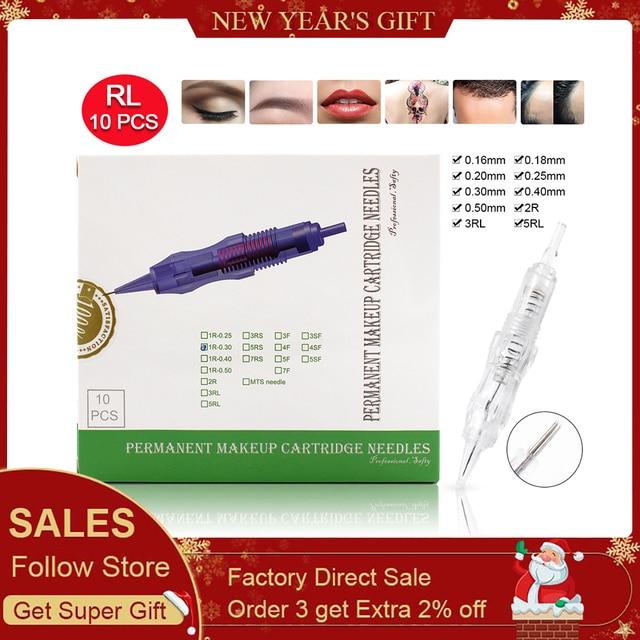 Biomaser 10PCS Revolution Tattoo Needle Permanent Makeup Cartridge Needles For Tattoo Machine Kit Eyebrow Needle 1R,2R,3R,5R