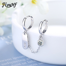JYouHF New Design Double Ear Hole Chain Short Earring Korean Style Small Round Shining Crystal Hoop Earrings for Women Jewelry fashion korean style small round hoop earrings white flowers earring elegant shining zircon earring women party jewelry gift