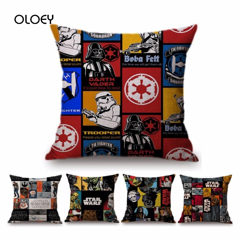 New Star Wars Printed Cushion Cover Cartoon Style Decorative Cushion Cover Home Bedroom Hotel Car Seat Decorative Cushion Cover.