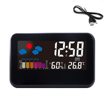 Wholesale Electronic CD Alarm Clock Backlight Color Screen Clock 618T USB Charging Temperature And Humidity Color Screen Clock image