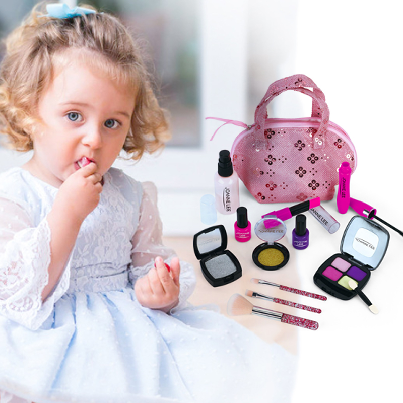 Kids Make Up Toy Set Pretend Play Princess Pink Makeup Beauty Safety Non-toxic Kit Toys For Girls Dressing Cosmetic Travel Bag