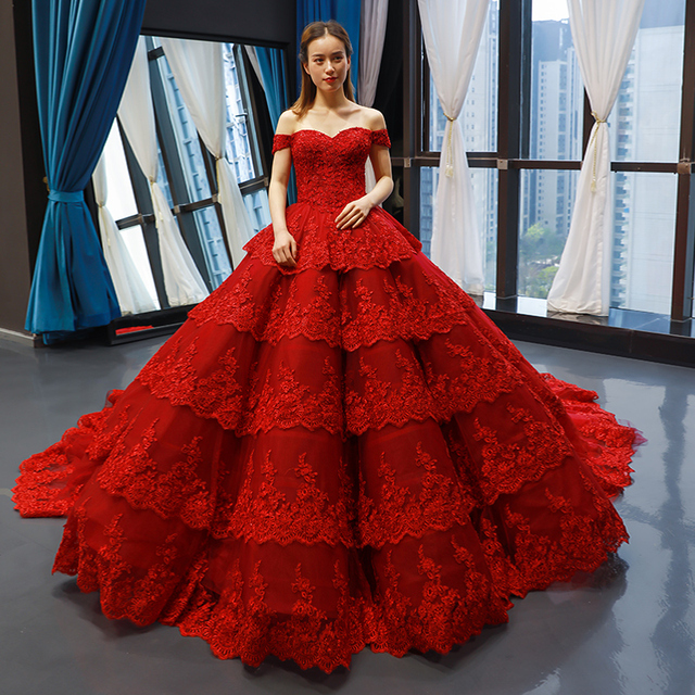 Customize Ball Gown Puffy Ruffle Tulle Lace Appliques Luxury Long Wedding Dress Wedding Gowns 2020 Mariage Bride Dress FR06M