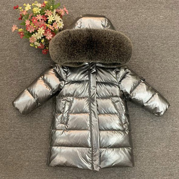 Winter 2018 children thicken long down jacket boys and girls coats fox fur collar 2-12 years old