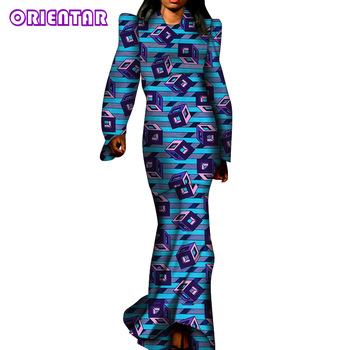 Fashion Long Maxi Dress 2020 News Long Robe African Dresses for Women Bazin Riche African Clothes Party Anakra Dress WY6291