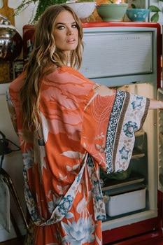 Fitshinling Oversize Beach Cover Up Kimono Vintage Print Floral Holiday Bikini Outing Boho Loose Long Cardigan 2020 Orange Coat 10