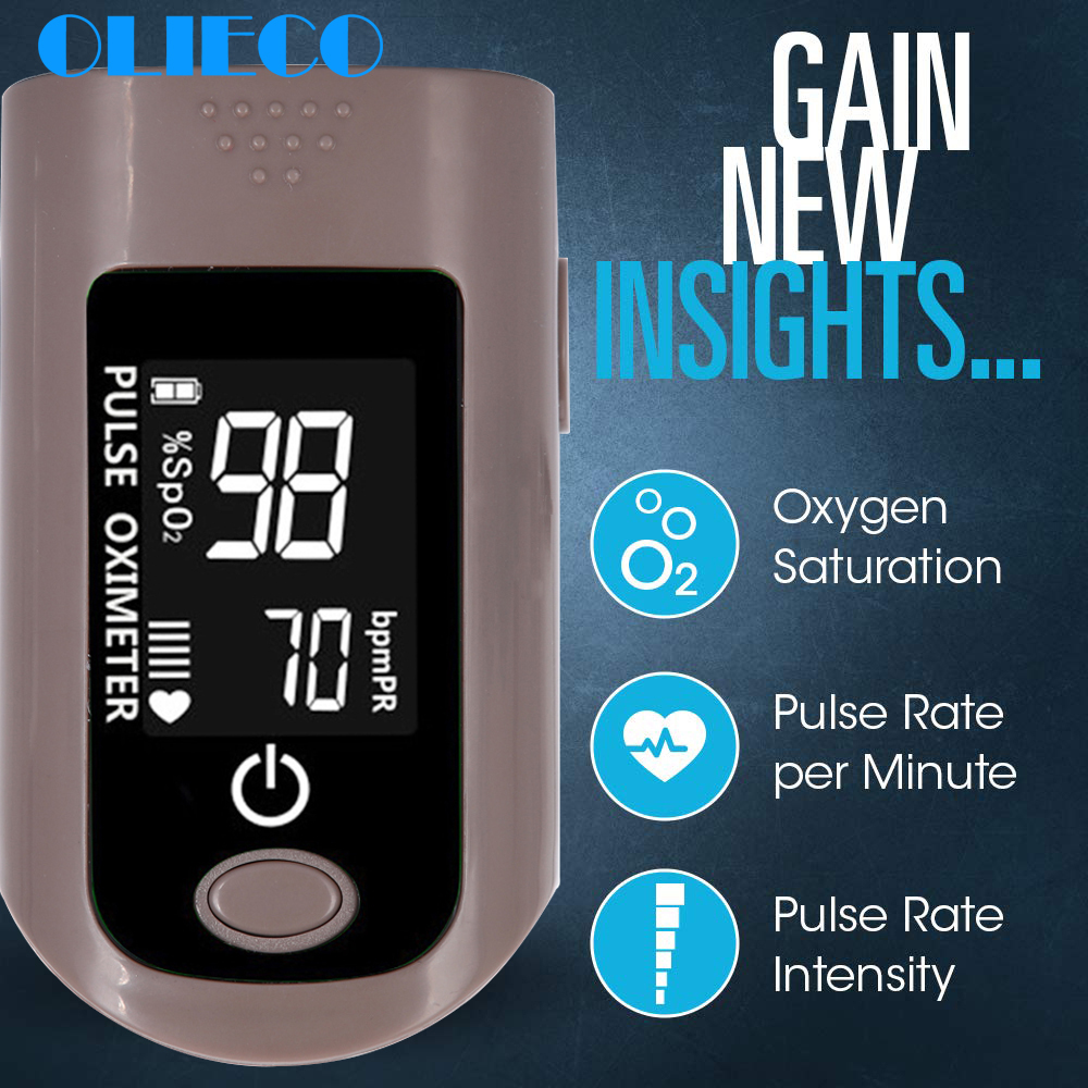 OLIECO Newest Fingertip Pulse Oximeter Portbable Blood Oxygen Saturation Meter Home Alarming SPO2 PR Momitor 6 Modes LCD Display