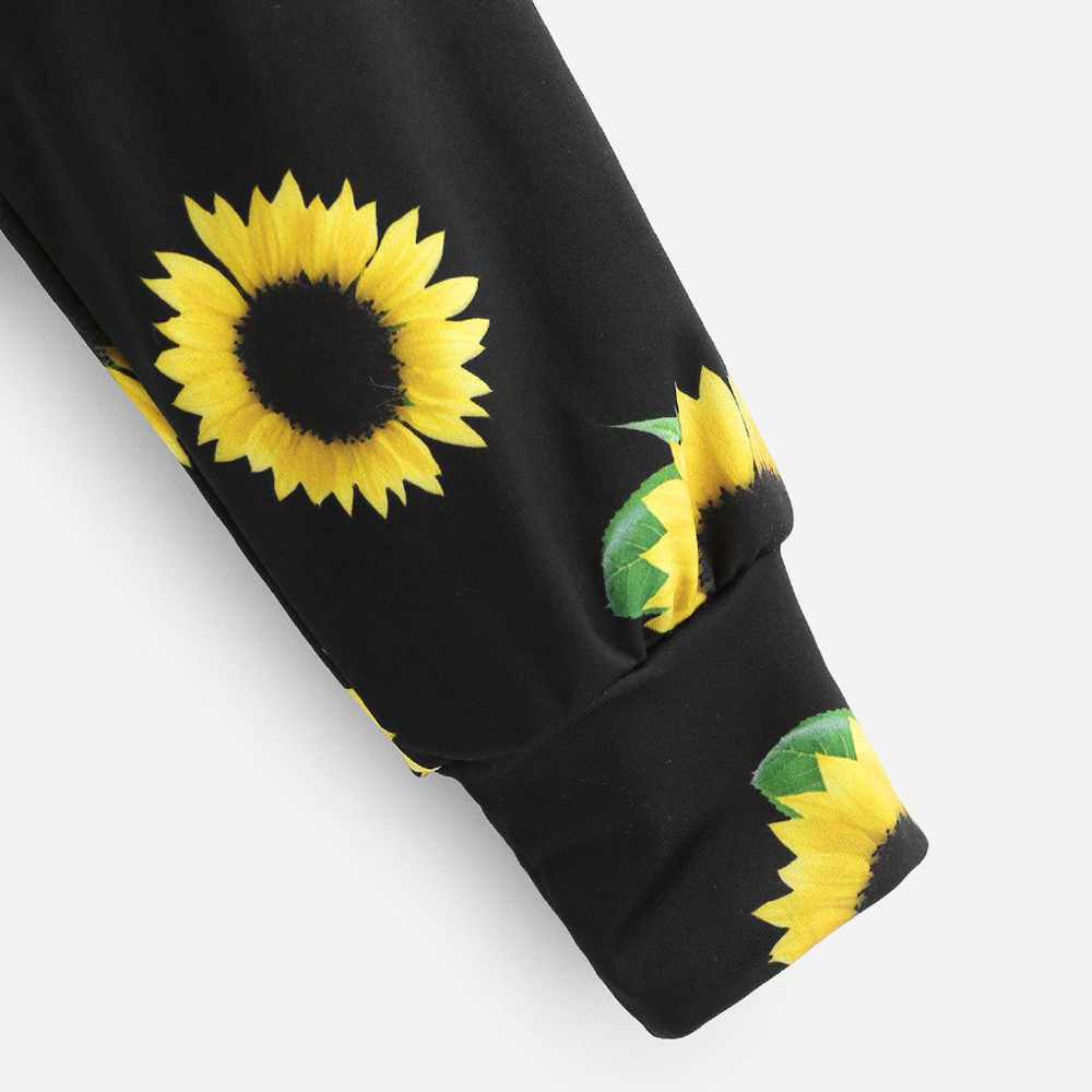 JAYCOSIN Blouse Crop Top Womens Long Sleeve Sunflower Printing Hooded Sweatshirt Blouse Tops Crop Top Women Hoodie Fashion