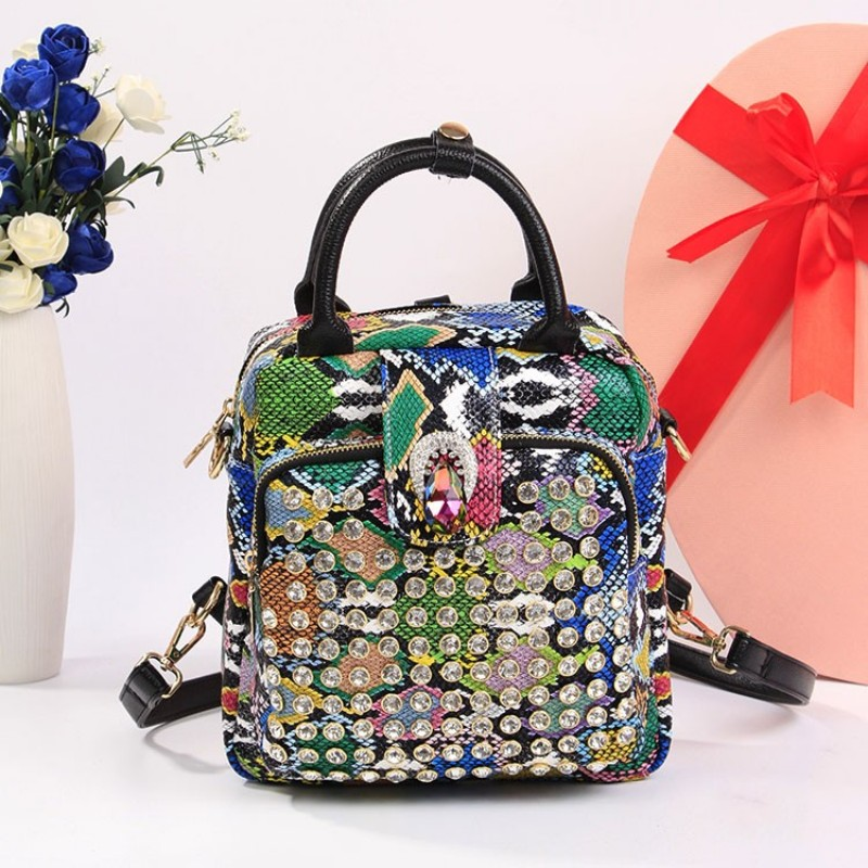 Fashion Diamond Crystal Backpack Female Brand Pu Leather Leopard Travel Laptop Backpack Multicolors Backpacks Adolescent Girls