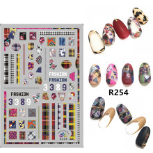 Adhesivos para uñas 3D con diseño autoadhesivo, calcomanías de decoración de uñas a cuadros coloridos, accesorios de manicura