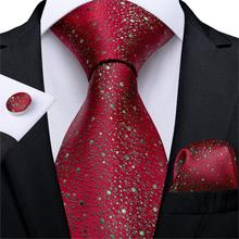New Designer Fashion Men Tie Red Gold Dot Wedding For Hanky Cufflink Silk Set DiBanGu Dropshipping  MJ-7262