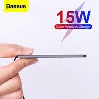 Baseus 15W Qi caricabatterie Wireless per iPhone 12 13 Pro XS Max XR Pad di ricarica Wireless a induzione Ultra sottile per Xiaomi Samsung