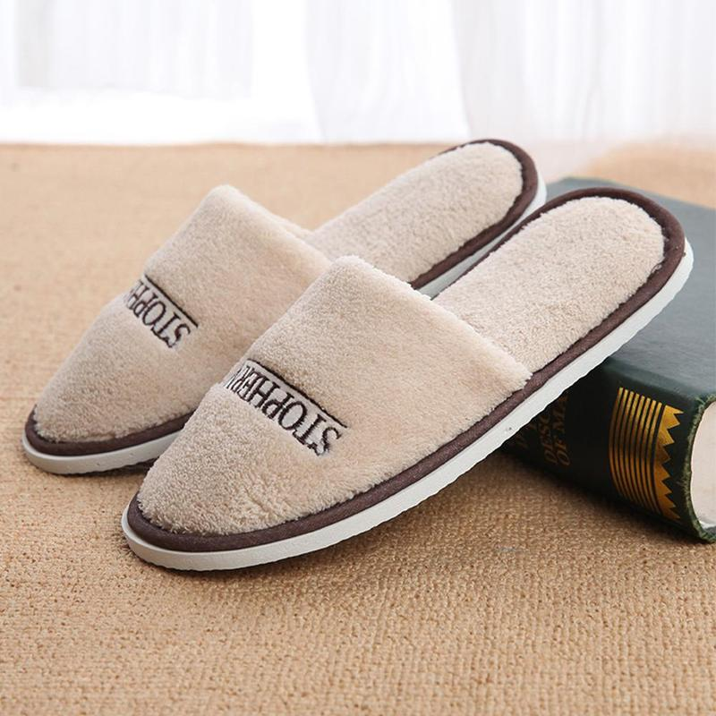 Outdoor Travel Portable Disposable Slippers Coral Fleece Home Stay Home Linen Travel Slippers Thickened Non-slip Slippers