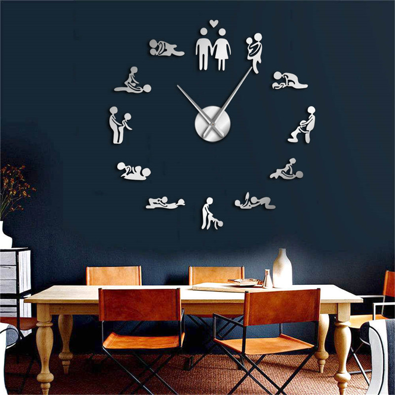 Sexy pose adult room decorative wall clock DIY sex love action frameless large wall clock art decorative mirror sticker clocks(China)