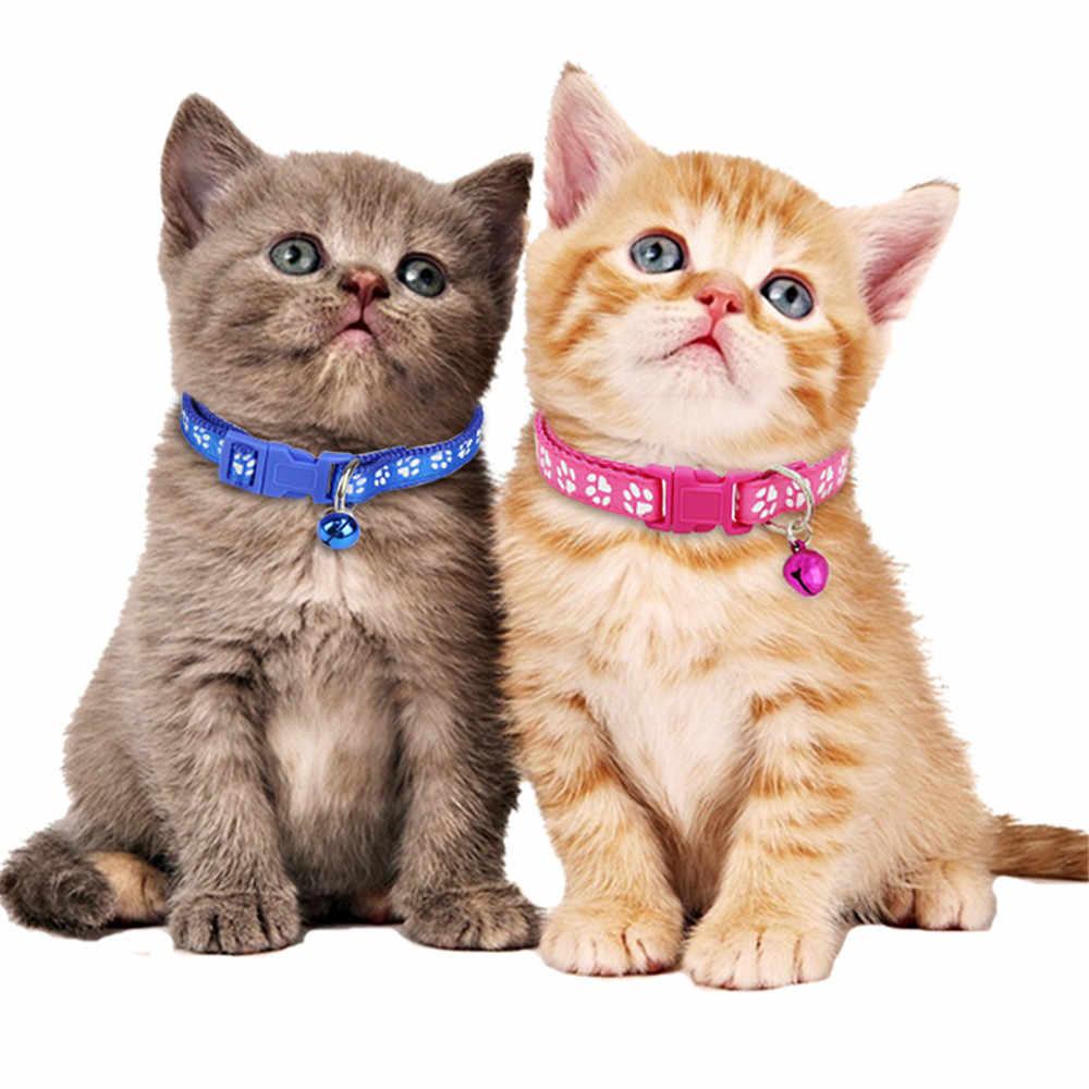 Nowy Cute Cartoon obroże dla zwierząt domowych Puppy regulowany naszyjnik z poliestru piękny z dzwoneczkami nadruk z kotem pies naszyjnik choker Supply @ 3