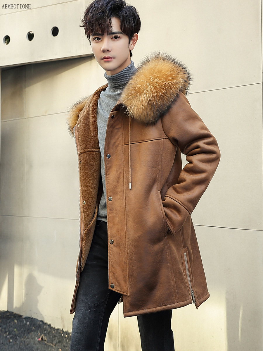 New Men's Long Chamois Leather Coat Raccoon Collar Men Leather Jacket Wool Liner Fur Outerwear Mens Winter Shearling Coats