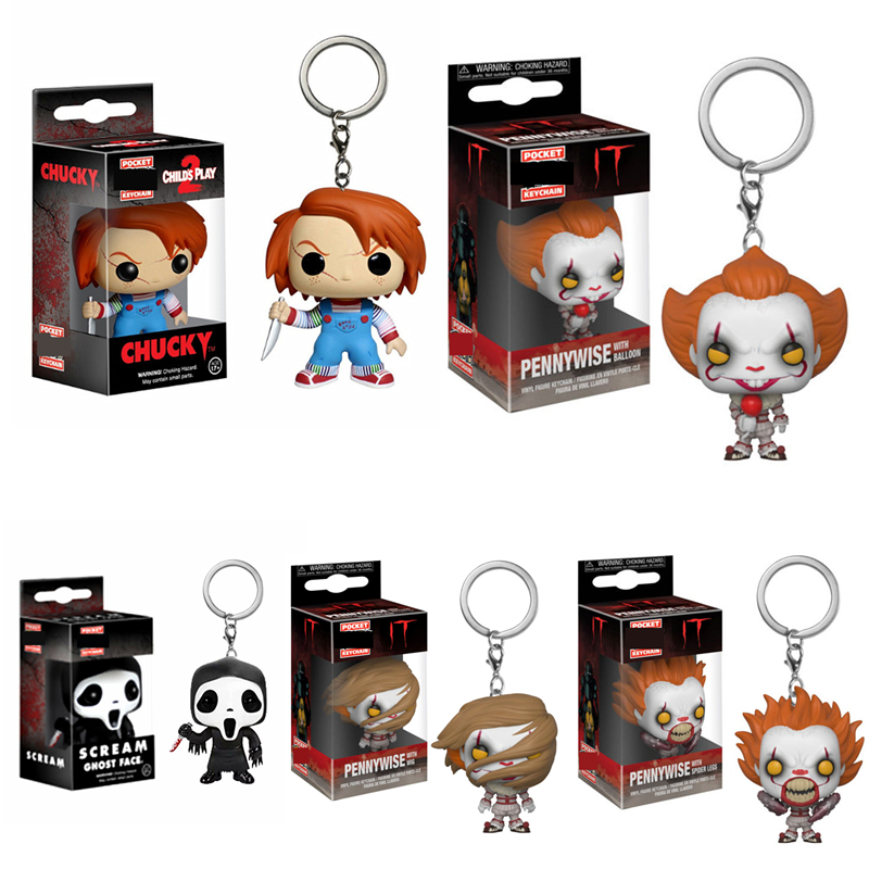 Pocket Keychain Official It Pennywise With Balloon Wig Spider Legs Scream Ghost Face Chucky Figures Model Action Figures Toys