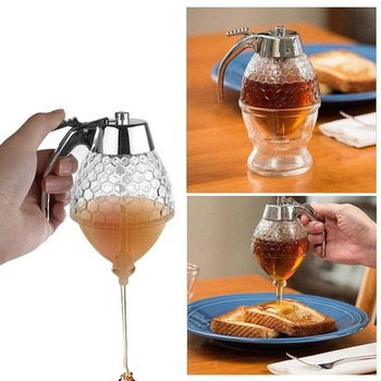 Squeeze Honey Dispenser Plastic No Drip Maple Syrup Dispenser Shaped Honey Pot Honey Jar with Stand Kitchen Accessories the crown maple guide to maple syrup