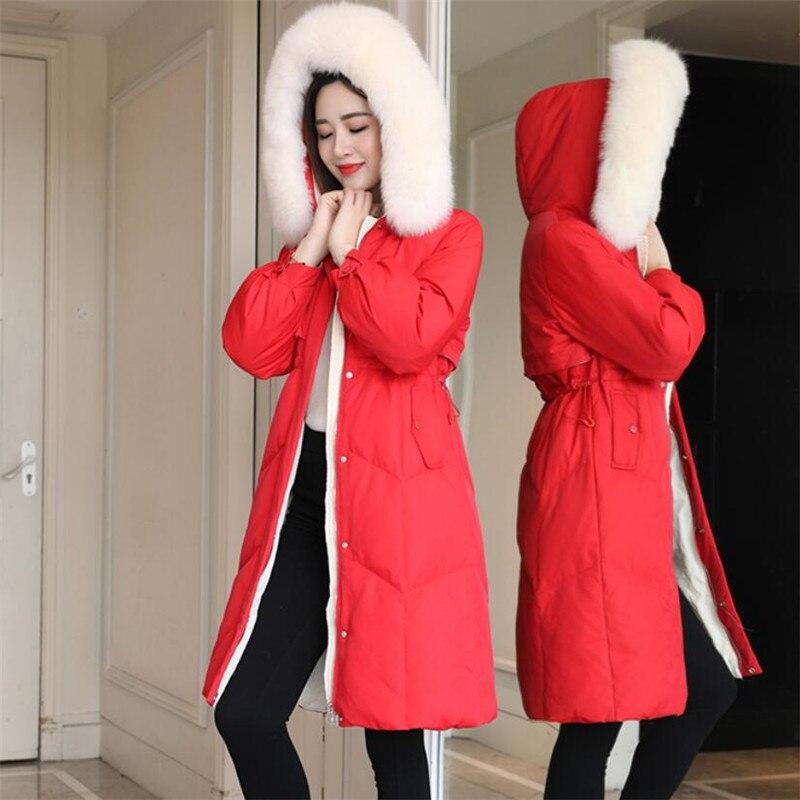 New Women's winter jacket Hooded Slim fit Real Fox Fur collar   coat   fashion hat long style waterproof padded windproof   down   jack