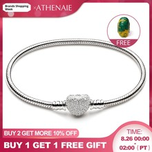 ATHENAIE 925 Sterling Silver Snake Chain With Pave Clear CZ Heart Clasp Bracelet Fit All European Charm Beads Valentine' Jewelry(China)