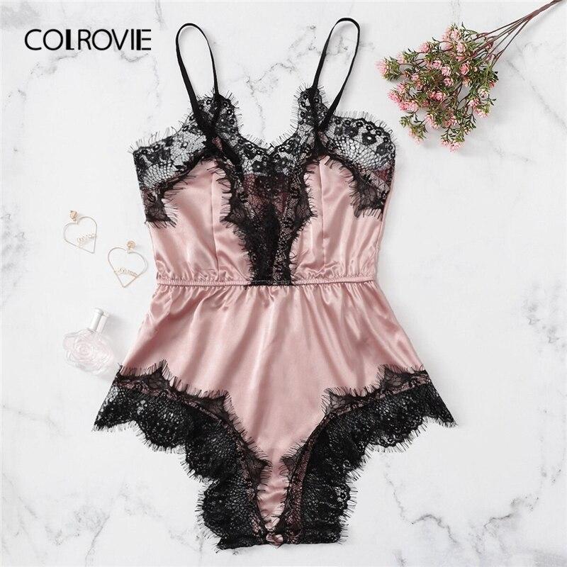 COLROVIE Lace Trim Romper Teddy Bodysuit Women 2019 Summer Satin Sexy Lingerie Cami Nightwear Ladies Sleepwear