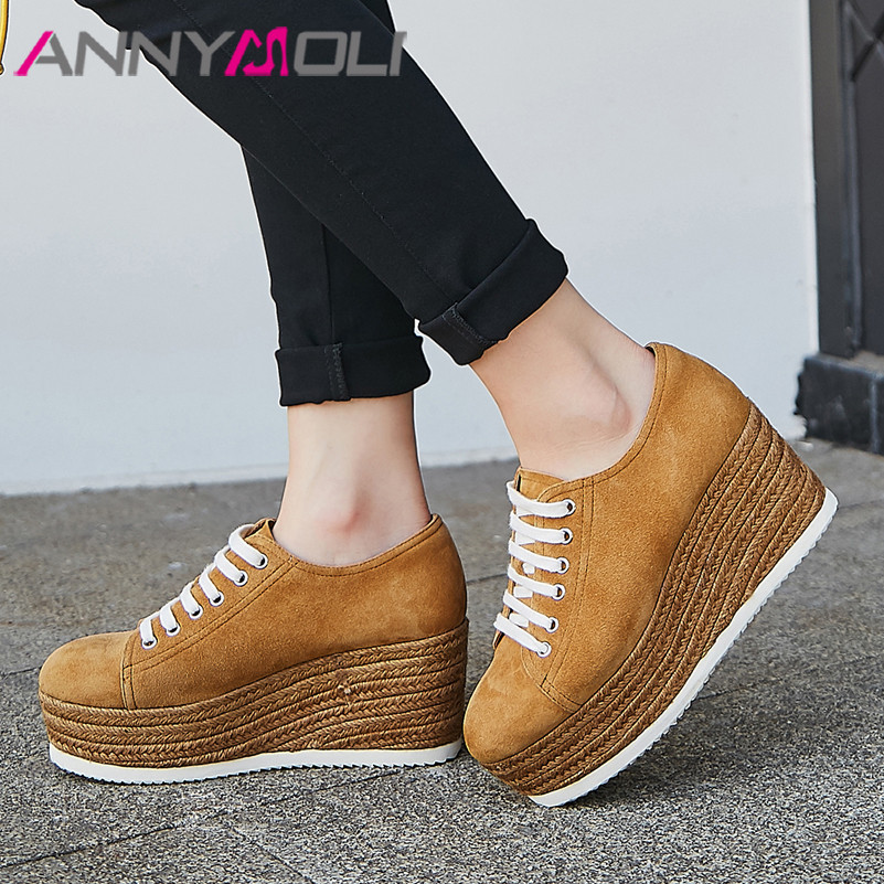 ANNYMOLI High Heels Women Pumps Kid Suede Platform Wedge High Heel Shoes Real Leather Espadrille Round Toe Shoes Ladies Size 39