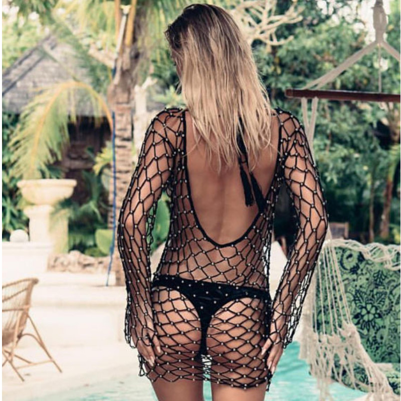 Sexy See Through Cover Up Women Crochet Mesh Bealing Swimwear Summer Fishnet Long Sleeve Beach Tops Bikini Transparent Cover-up