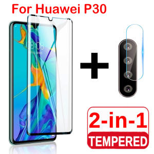 Screen-Protector Lens-Film Back-Camera Tempered-Glass Huawei P30-Lite for on 2-In-1