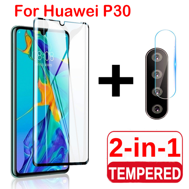 2 in 1 Screen Protector Full Protective Glass For Huawei P30 lite Pro Back Camera Lens