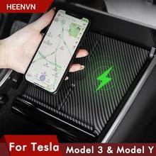 Heenvn Model3 Auto Draadloze Oplader Voor Tesla Model 3 Y Usb-poorten Fast Charger Dual Telefoons Accessoires Carbon Abs Model drie Nieuwe