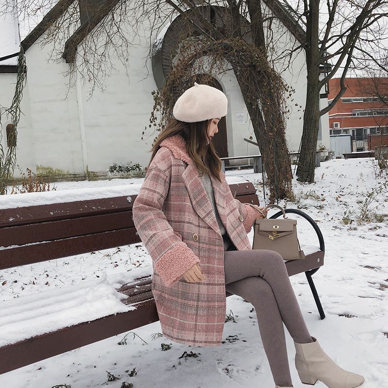 MISHOW 2019 Autumn Winter Plaid Woolen Coat New Fashion Causal Women Turndown Collar Long Pink Coat MX18D9678