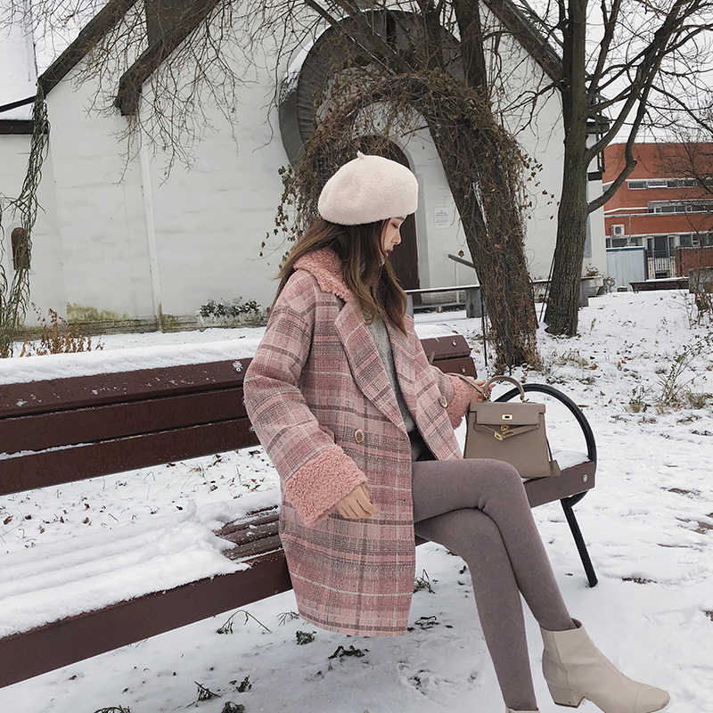Mishow 2019秋冬の格子縞のウールコート新ファッション因果女性折り襟ロングピンクコートMX18D9678