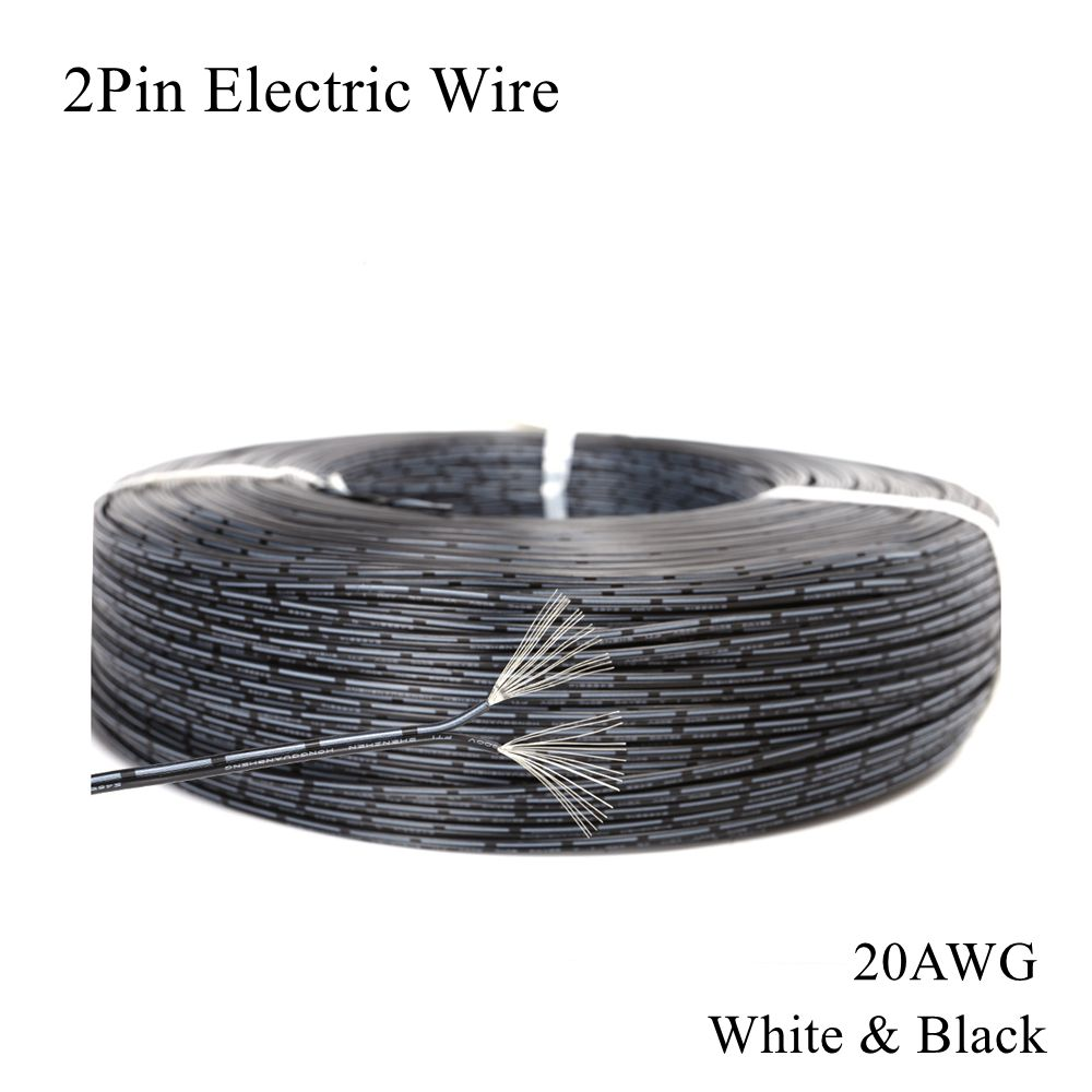 <font><b>20AWG</b></font> <font><b>2Pin</b></font> Electric Wire White Black Tinned Copper Cable PVC Electrica Extend Connect Line Lamp Lighting LED Strip Tape String image